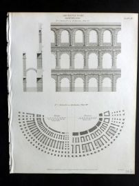 Rees 1820 Antique Print. Architecture 04 Ampitheatre